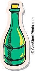 Hand drawn sticker style icon Wine bottle