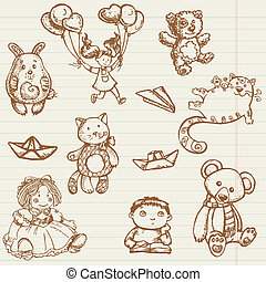 Hand drawn toys collection in vector