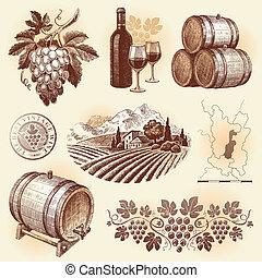 Hand drawn vector set - wine and winemaking