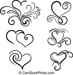 Hand drawn vector swirl heart elements