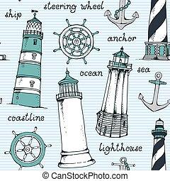 Hand drawn vintage nautical pattern, seamless vector illustration
