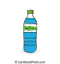 Hand drawn water bottle