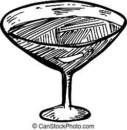 Hand drawn wine glass