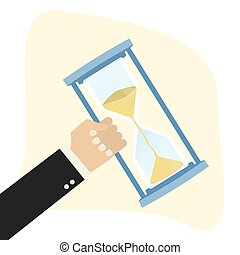 Hand holding hourglass,business deadline concept