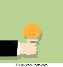Hand holding light bulb. Business idea concept