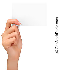 Hand holding paper card.