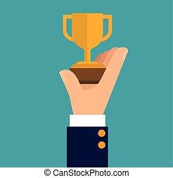 hand holding trophy winner business