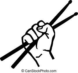Hand with drum sticks