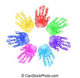 Daycare Preschool Handprints of Children In Multiple Colors