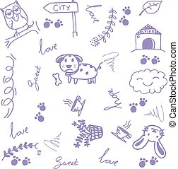 Happy animal doodle art