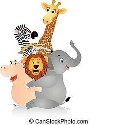 Happy animal hug each other