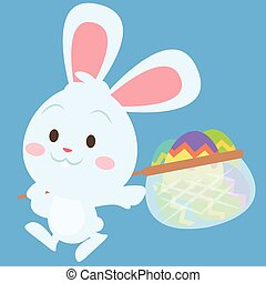 Happy bunny with egg style easter theme