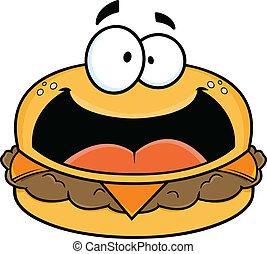 Happy Cartoon Cheeseburger