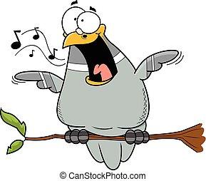 Happy Cartoon Pigeon