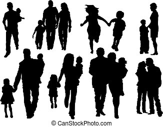 Vector set of happy family silhouettes