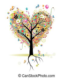 Happy holiday, heart shape tree with balloons