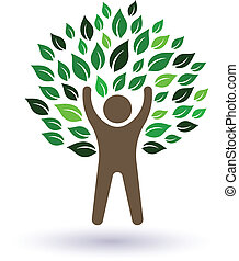 Happy Man tree image. Concept of success and natiral life. Vector icon
