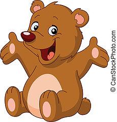 Happy teddy bear raising his arms