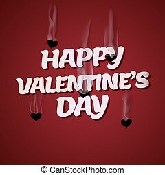 Happy Valentines Day, Cupid shoots bullets of hearts