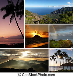 Hawaii collage with multiple typical photos