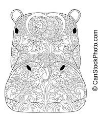 Head hippopotamus coloring book vector illustration. Anti-stress coloring for adult. Zentangle style. Black and white lines. Lace pattern