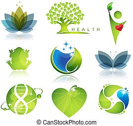 Stunning health-care and ecology symbols. Beautiful harmonic colors.