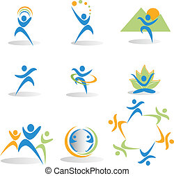 Health, nature, yoga, business, social icons logos vector eps10