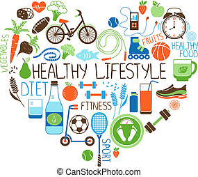 Healthy Lifestyle Diet and Fitness vector sign in the shape of a heart with multiple icons depicting various sports vegetables cereals seafood meat fruit sleep weight and beverages
