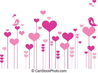 Heart flowers with lovebirds, vector background
