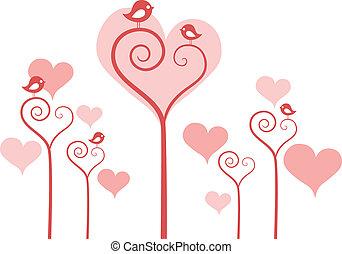 heart flowers with birds, vector