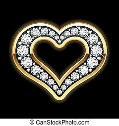 Vector illustration of a heart in diamonds