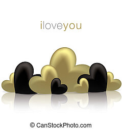Hearts on a shiny surface Valentine's Day card in vector format.