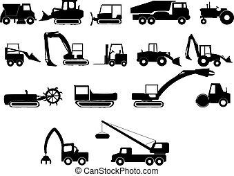 heavy construction machines illustrations