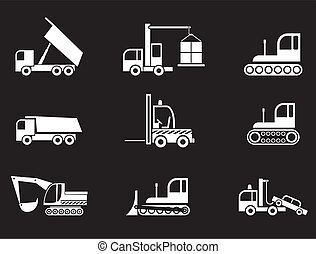 Heavy Machines - set of isolated vector icons on black background.