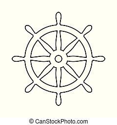 Helm Anchor vector icon logo Nautical maritime sea ocean boat illustration.