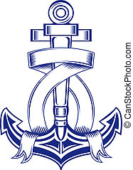 Heraldic anchor with ribbons