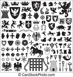 Collection of old coats of arms, heraldic symbols and elements.
