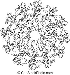 Herb mandala with curls and delicate leaves, zen anti stress coloring page