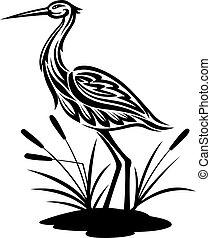 Heron bird ion the bog landscape for environment design