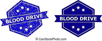 Hexagon BLOOD DRIVE Seal with Grunged Texture and Clean Version