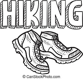 Doodle style hiking outdoor sports illustration. Includes text and hiking boots.