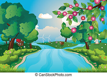 Green rural landscape with trees and river over blue sky.