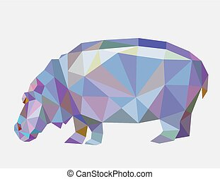 Hippopotamus animal triangle low polygon style. Nice and clean vector. Good use for your symbol, mascot, website icon, avatar, sticker, or any design you want. Easy to use.