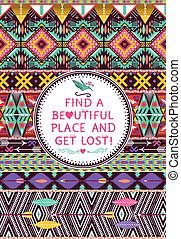Hipster seamless tribal pattern with Hipster seamless tribal pattern with geometric elements and quotes typographic text geometric elements and quotes typographic text