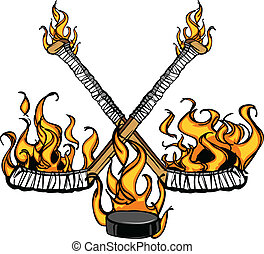 Cartoon Image of Flaming Hockey Puck and Sticks