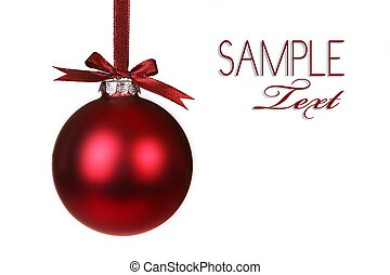 Holiday Christmas Ornament Hanging With Bows on White Background