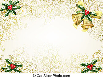 holly and bells christmas background