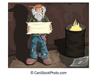 Homeless man standing on the street with an empty plate in hand. Vector illyustatsiya.