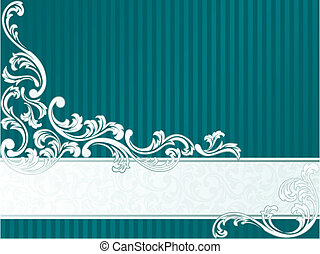 Horizontal French retro banner in green