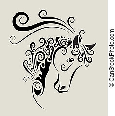 Decorative horse head with curl ornament decoration. Easy to edit color.